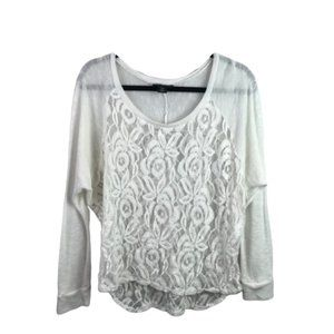 Metaphor   Size L. White Floral Mesh Long Sleeve